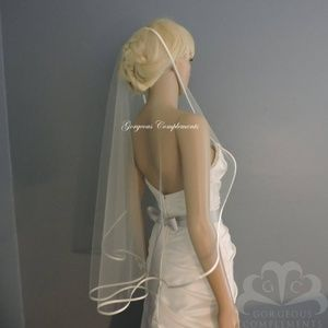 "36"" Inch  White Satin Trim Bridal Veil"
